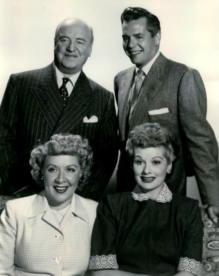 """""""I Love Lucy"""" cast photo, L-R: William Frawley, Desi Arnaz, Vivian Vance, and Lucille Ball CBS Television"""