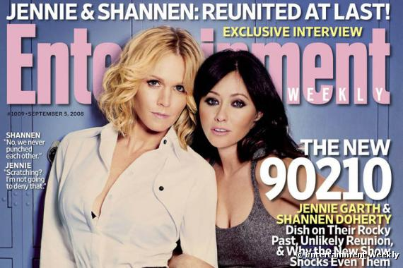 Jennie Garth and Shannon Doherty on the cover of Entertainment Weekly promoting their appearances on