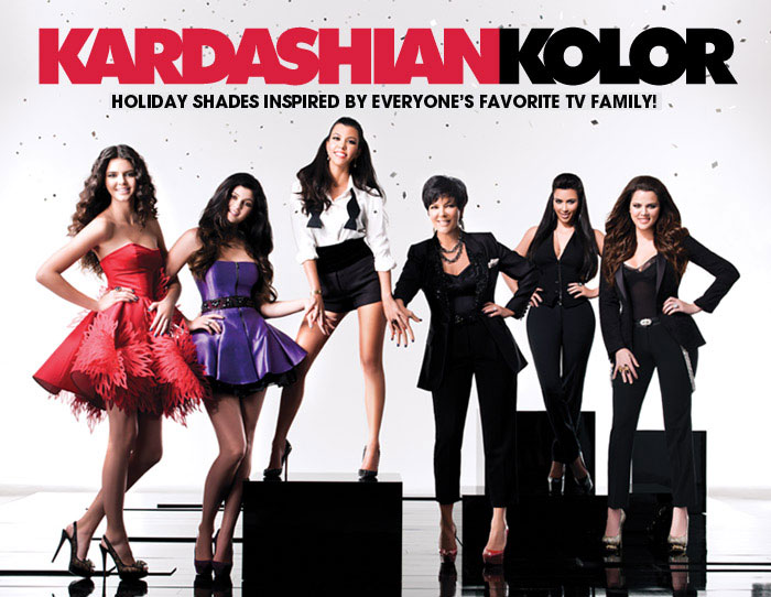 Kardashian Sisters and Jenner Sisters, along with their mother Kris, posing for a promoting the nail polish