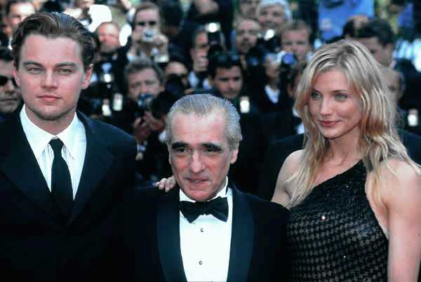"Leonardo DiCaprio, Martin Scorsese, and Cameron Diaz at the premiere of ""Gangs of New York"" in 2002 at Cannes Rita Molnar"