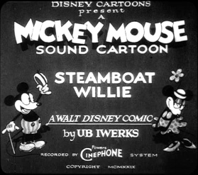 "Mickey and Minnie Mouse in ""Steamboat Willie"" in 1928 Walt Disney Company"