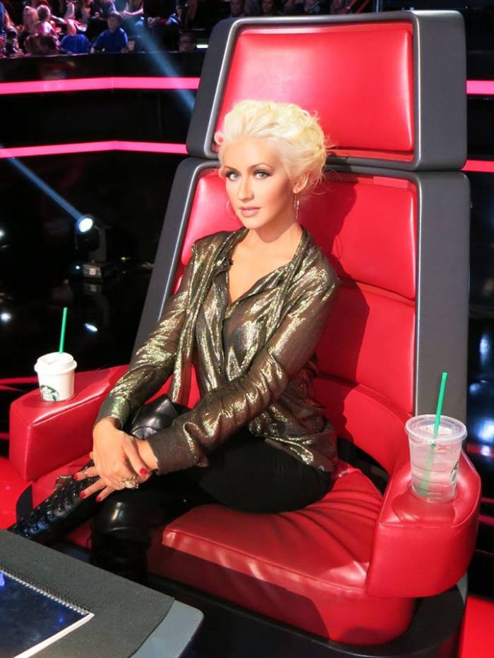 Christina Aguilera on the set of