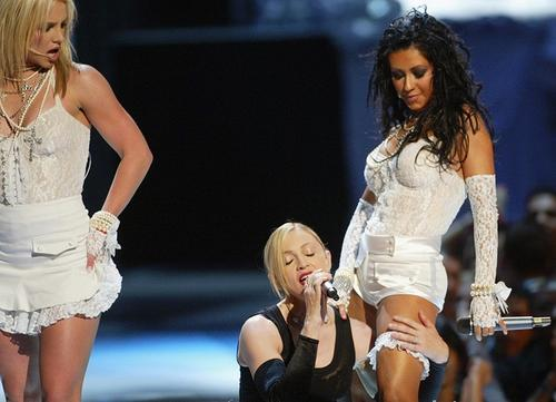 The infamous MTV Video Music Award Performance featuring Christina Aguilera, Britney Spears, and Madonna Getty Images