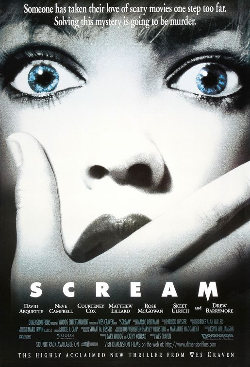 "The theatrical poster for ""Scream"" Dimension Films"