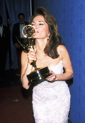 Susan Lucci kissing her Emmy at the 1999 Daytime Emmys Wire Image / Getty Images