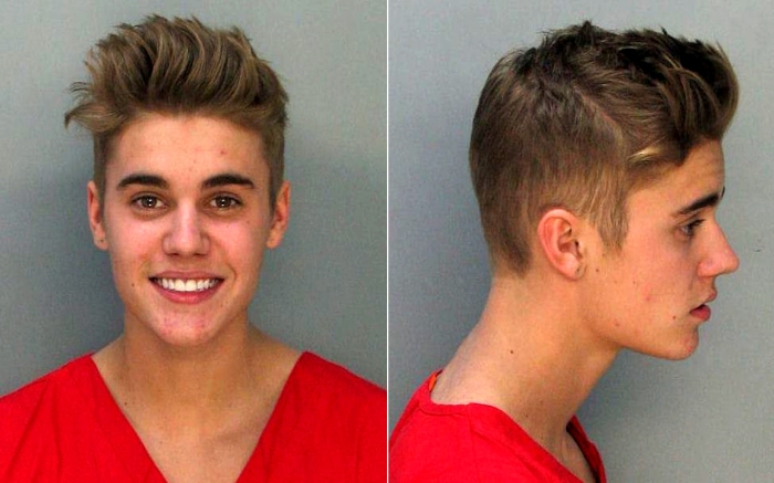 Justin Bieber 1.23.14 mug shot  Miami Beach Police Department
