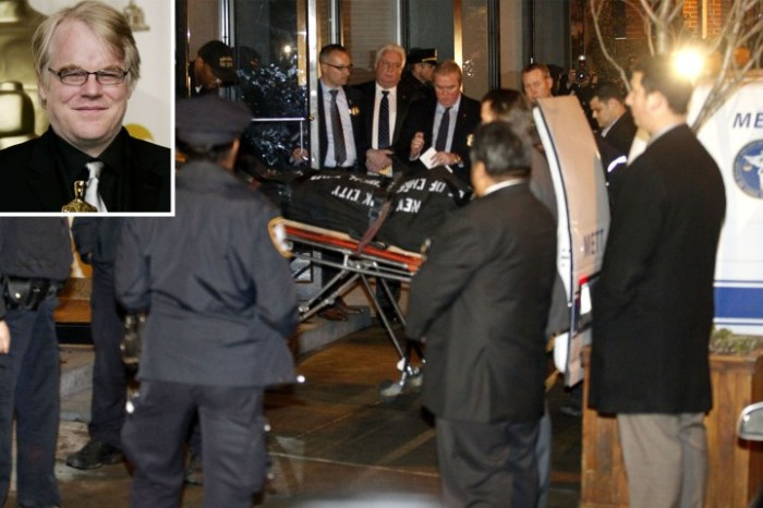 Philip Seymour Hoffman's body is removed from the Manhattan building where the actor died earlier today. Photo: G.N. Miller