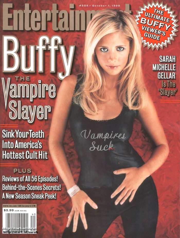 "Sarah Michelle Gellar on the cover of Entertainment Weekly promoting ""Buffy The Vampire Slayer"" Entertainment Weekly"
