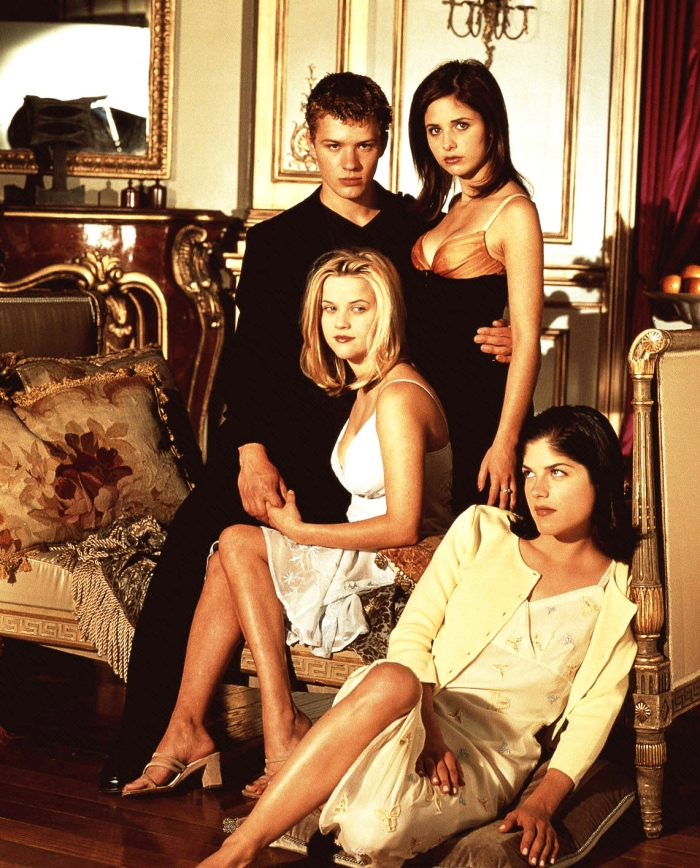 Ryan Phillippe, Reese Witherspoon, Sarah Michelle Gellar, Selma Blair as Sebastian Valmont, Annette Hargrove, Kathryn Merteuil, and Cecile Caldwell Columbia Pictures