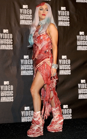 One of Lady Gaga's most famous looks was her infamous meat dress at the 2010 MTV Video Music Awards Jon Kopaloff/FilmMagic