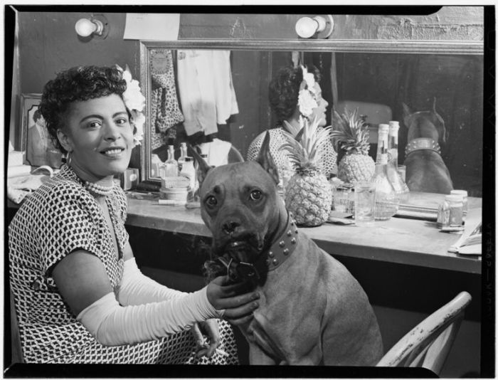 Billie Holiday with her dog Mister in New York City on June 1946 United States Library of Congress's Music Division