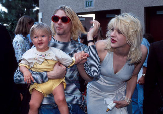 Kurt Cobain, Courtney Love, and Frances Bean Cobain at the 1993 MTV Video Music Awards Getty Images
