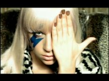 "Video still of Lady Gaga in her music video for ""Just Dance"" Interscope Records"