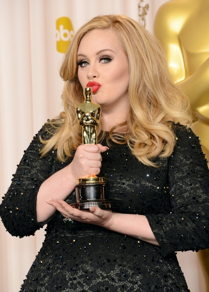 Adele with her Best Original Song Oscar at the 2013 Academy Awards Getty Images