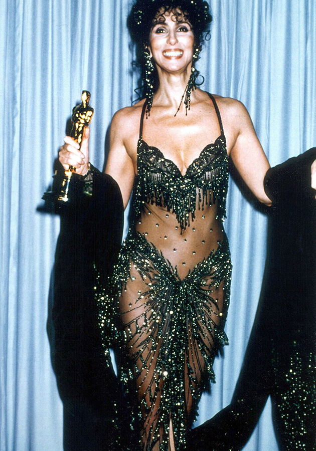 Cher with her 1988 Academy Award for