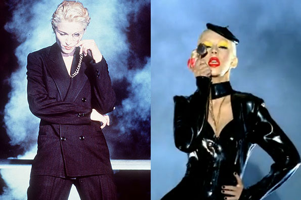 Christina Aguilera paying homage to Madonna in her