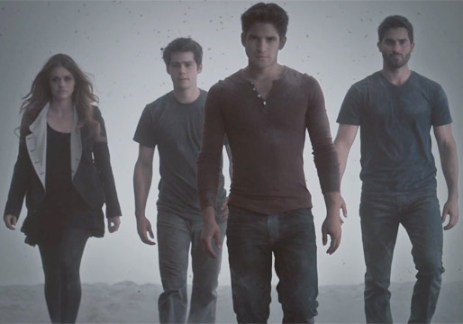 The cast of Teen Wolf, Season Four: Lydia Martin (Holland Roden), Stiles Stilinski (Dylan O'Brien), Scott McCall (Tyler Posey), and Derek Hale (Tyler Hoechlen) MTV