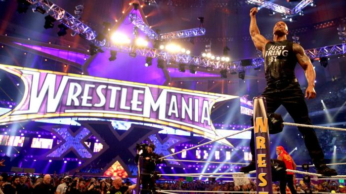 The Rock appearing in 2014's Wrestlemania WWE