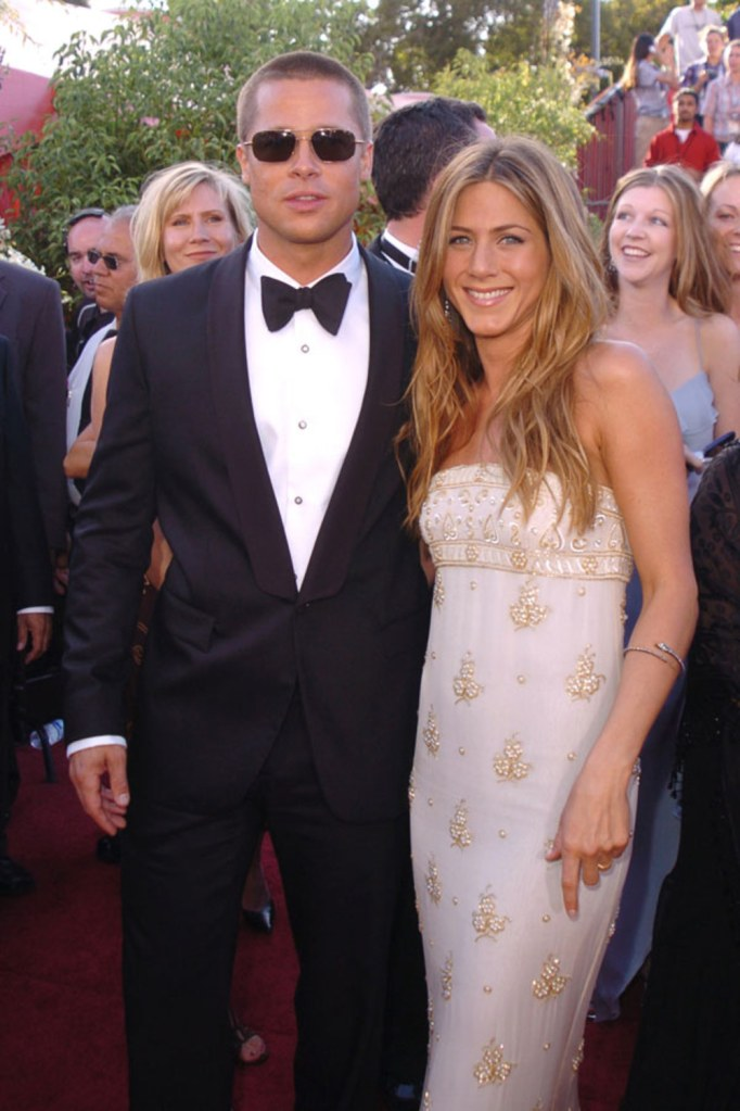 Brad Pitt and Jennifer Aniston at the 2004 Emmy Awards Getty Images