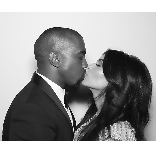 Kim Kardashian and Kanye West on their wedding day, May 24, 2014 instagram.com/kimkardashian