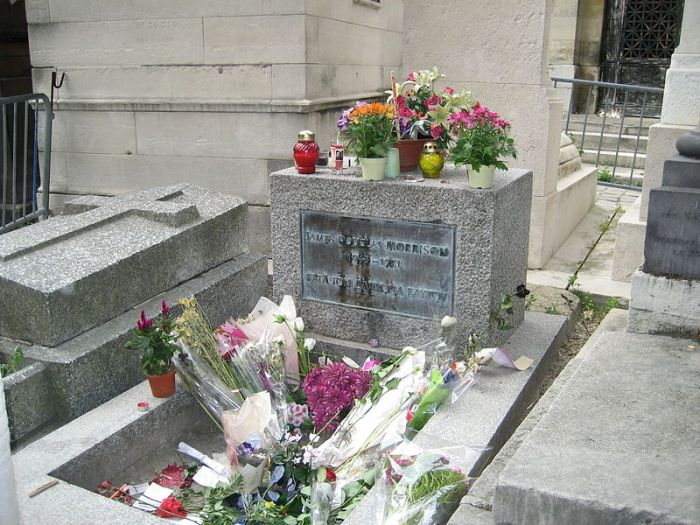 Jim Morrison's grave site in Paris, France SuzanneGW (via Wikipeida.org)