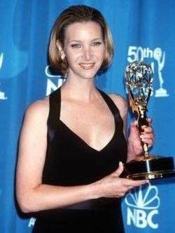 Lisa Kudrow holding her Emmy Award NBC