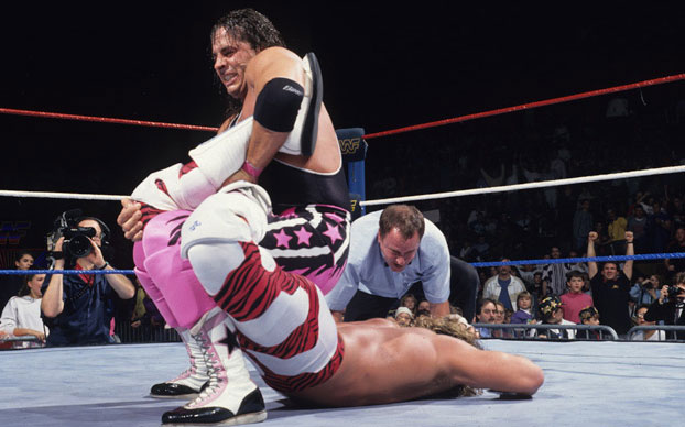 Bret Hart executing The Sharpshooter WWE