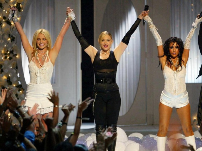 Britney Spears, Madonna, and Christina Aguilera during the 2003 MTV Video Music Awards MTV / Getty Images