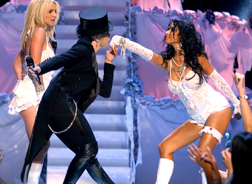 Madonna alongside Britney Spears and Christina Aguilera at the 2003 MTV Video Music Awards MTV / Getty Images