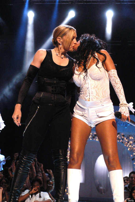 Madonna kissing Christina Aguilera during 2003 MTV Video Music Awards Film Magic / Getty Images