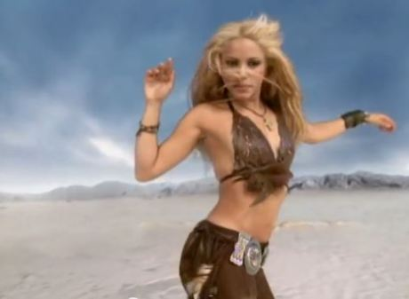 "Shakira in her ""Whenever, Wherever"" music video Epic Records"