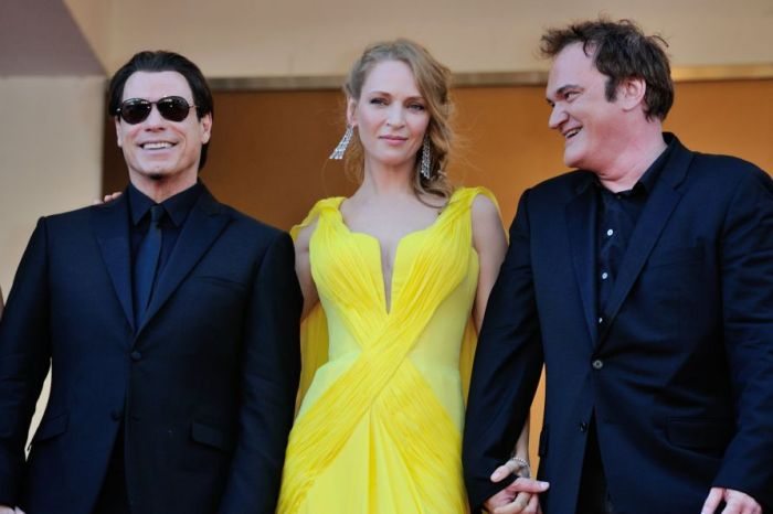 John Travolta, Uma Thurman, and Quentin Tarantino celebrating the 20th Anniversary of