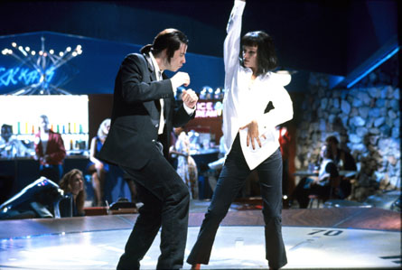 John Travolta and Uma Thurman during famous dance scene in