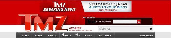 Homepage for TMZ www.tmz.com