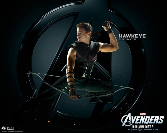 "Theatrical poster depicting Jeremy Renner as Hawkeye in ""Marvel's The Avengers"" Marvel Studios / Walt Disney Studios"