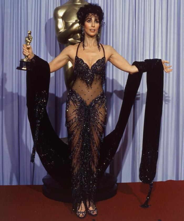 Cher with her Best Actress Oscar NY Daily News