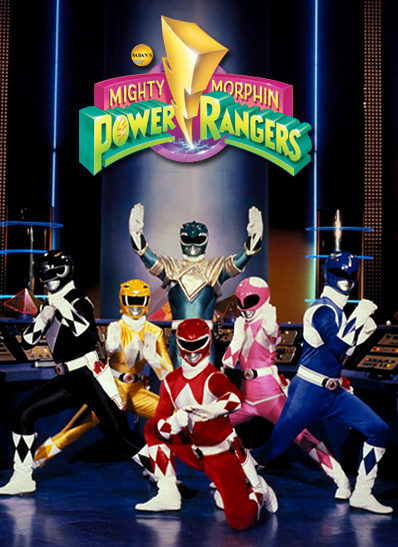 The original rangers: Zack (Black Ranger), Trini (Yellow Ranger), Tommy (Green Ranger), Jason (Red Ranger), Kimberly (Pink Ranger), and Billy (Blue Ranger) Saban Entertainment