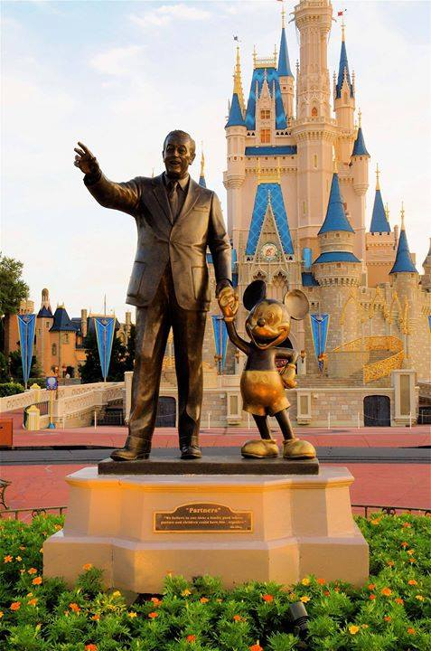 Statue of Walt Disney alongside Mickey Mouse in Walt Disney World  www.facebook.com/WaltDisneWorld